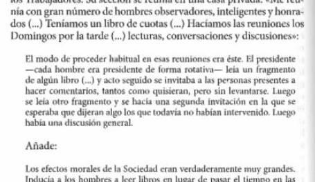 """i aquelles primeres societats obreres de finals del XVIII a Anglaterra ja feien tertúlia amb el llibre a la mà (""""La Formació de la classe obrera a Anglaterra"""" d'E.P Thompson, p. 180)"""