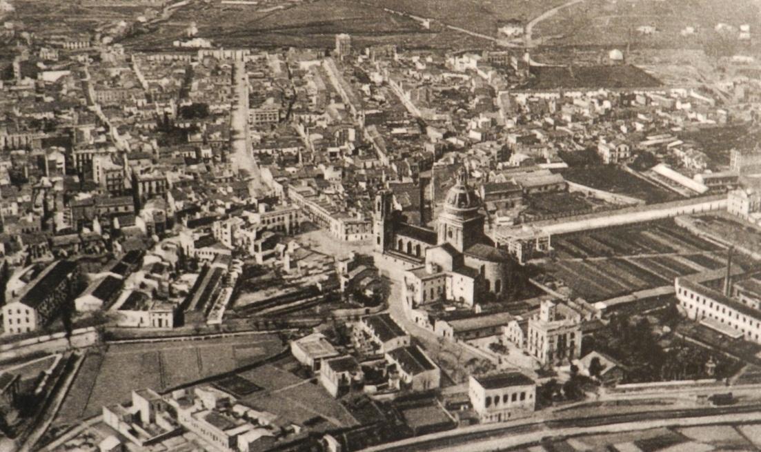 Sant Andreu de Palomar a vol d'ocell, l'any 1929. Autor desconegut. Fons Arxiu CEII.