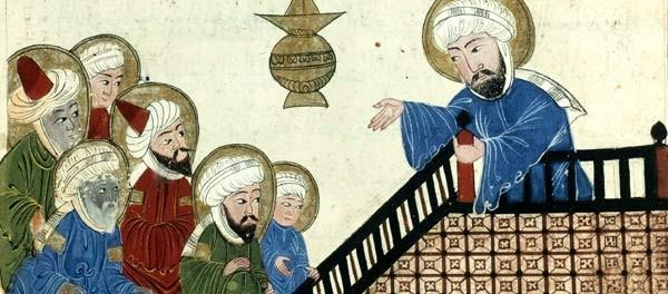 Il·lustració del segle XV que pertany a una còpia d'un manuscrit d'Al-Biruni. Representa Mahoma predicant a la Meca.