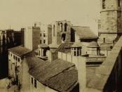 Sant Pere de les Puel·les, vista de la desapareguda torre de les hores. AFB