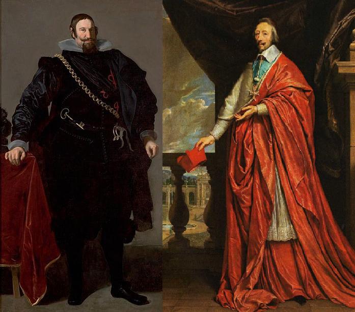 Olivares pintura de Velázquez  Richelieu, pintura de Philippe de Champaigne