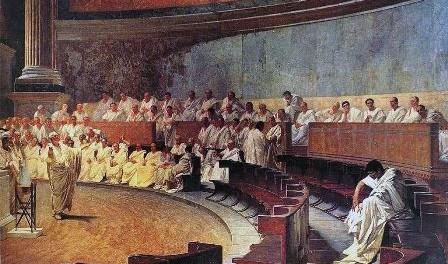 """Cicerone denuncia Catilina, 1880, affresco di Cesare Maccari; Roma, Palazzo Madama. """"Quousque tandem abutere, Catilina, patientia nostra""""?"""