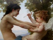 A Young Girl Defending Herself against Eros; William-Adolphe Bouguereau (French, 1825 - 1905)
