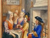 Contes de ma mère l'Oye,illustration à la gouache d'un manuscritde la fin du XVIIe siècle