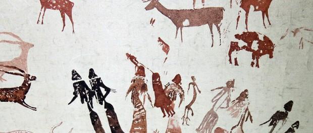 La Dansa del Cogul. Calc d'Henri Breuil. Font Viquipèdia.
