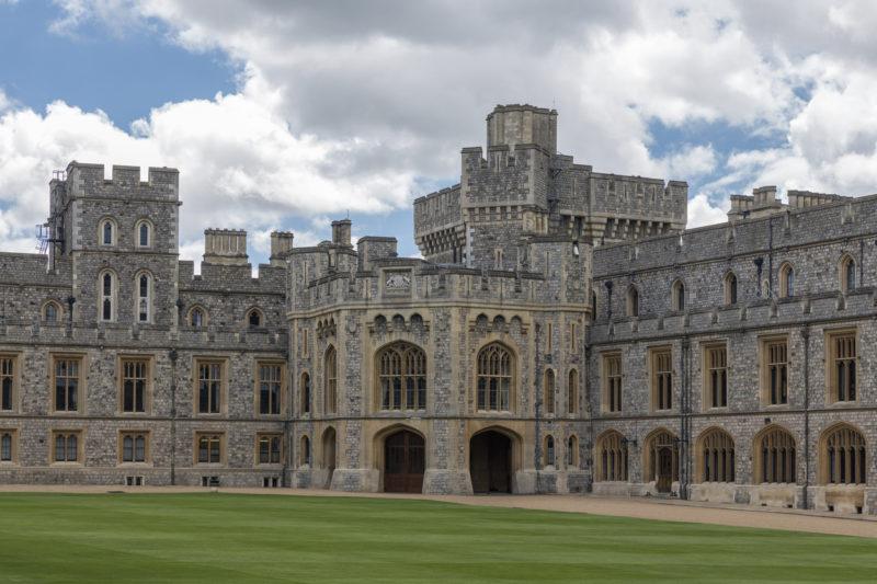 Courtyard garden and buildings Windsor Castle near London, England