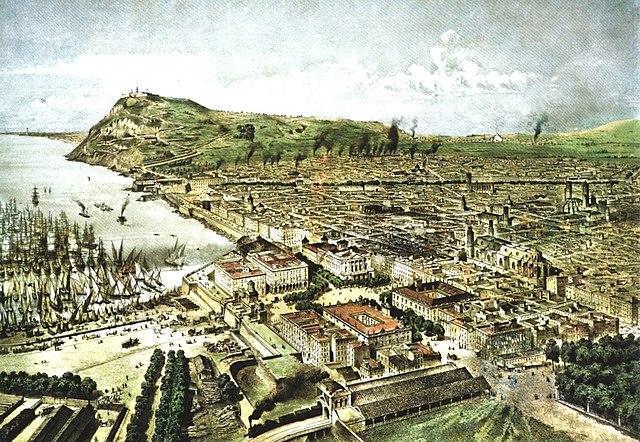 Barcelona (1850), gravat d'Alfred Guesdon.