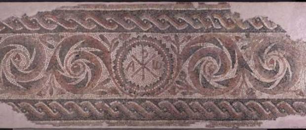 Mosaic, segle V, jaciment plaça  Antoni Maura, Barcelona. MUHBA